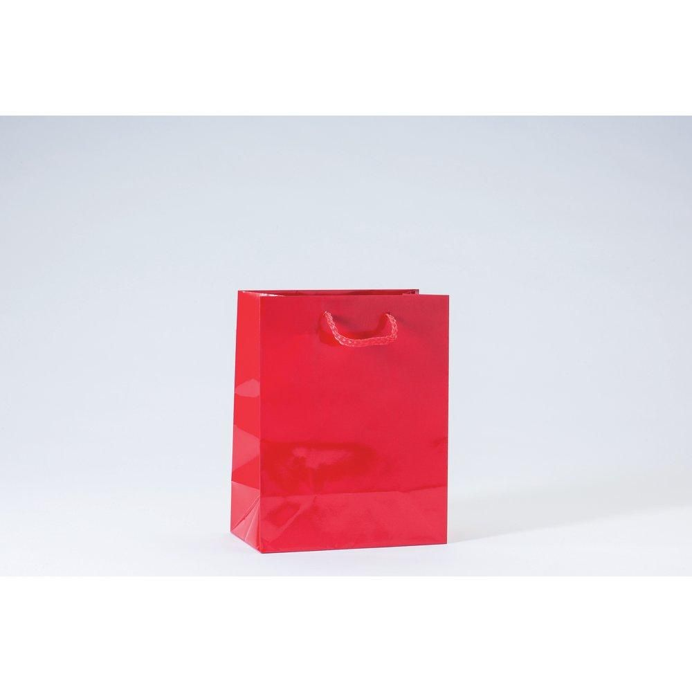 Sac Luxe pelliculé rouge L18xP10xH23cm - par 12
