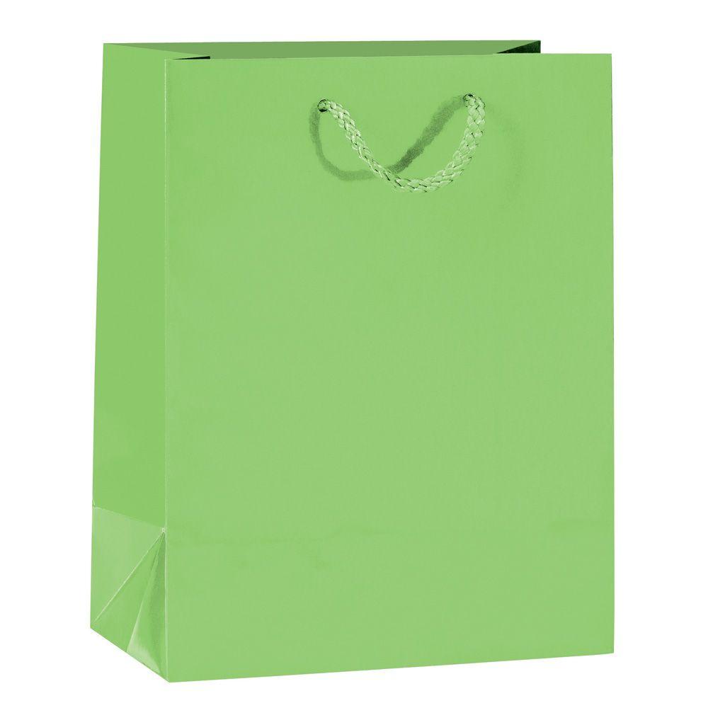 Sac Luxe pelliculé vert L18 x P10 x H23 cm par 12 (photo)