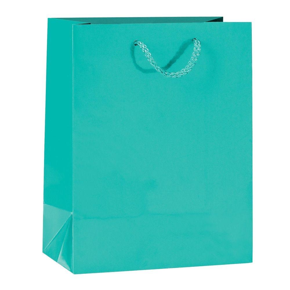 Sac Luxe pelliculé vert d'eau L18 x P10 x H23 cm - par 12