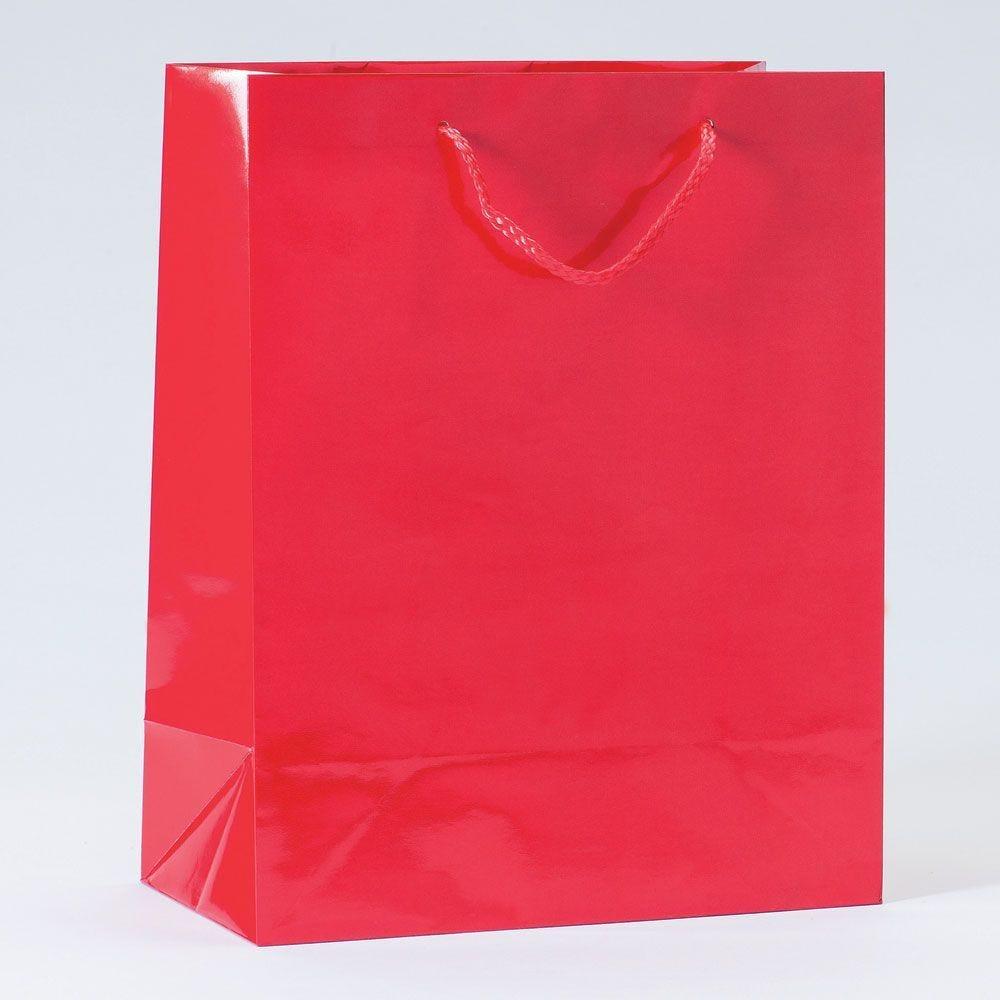 Sac Luxe pelliculé rouge L26xP13xH32cm - par 12