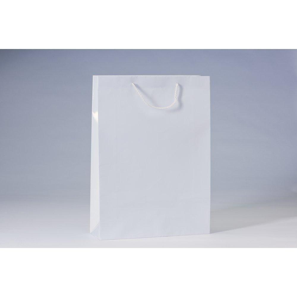 Sac Luxe pelliculé blanc L32 x P10 x H44 cm par 12 (photo)