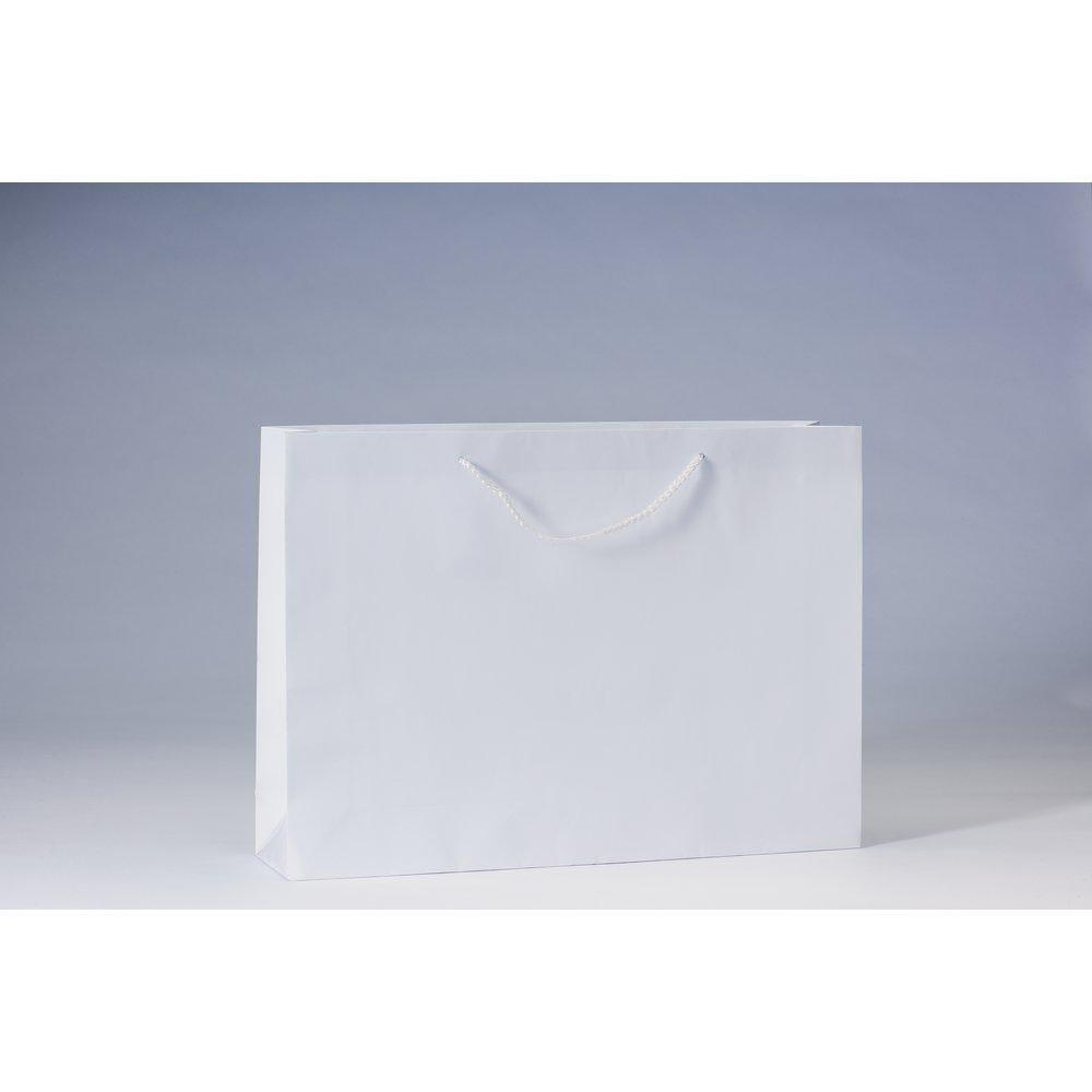 Sac Luxe pelliculé blanc  L46 x P10 x H33cm par 12 (photo)