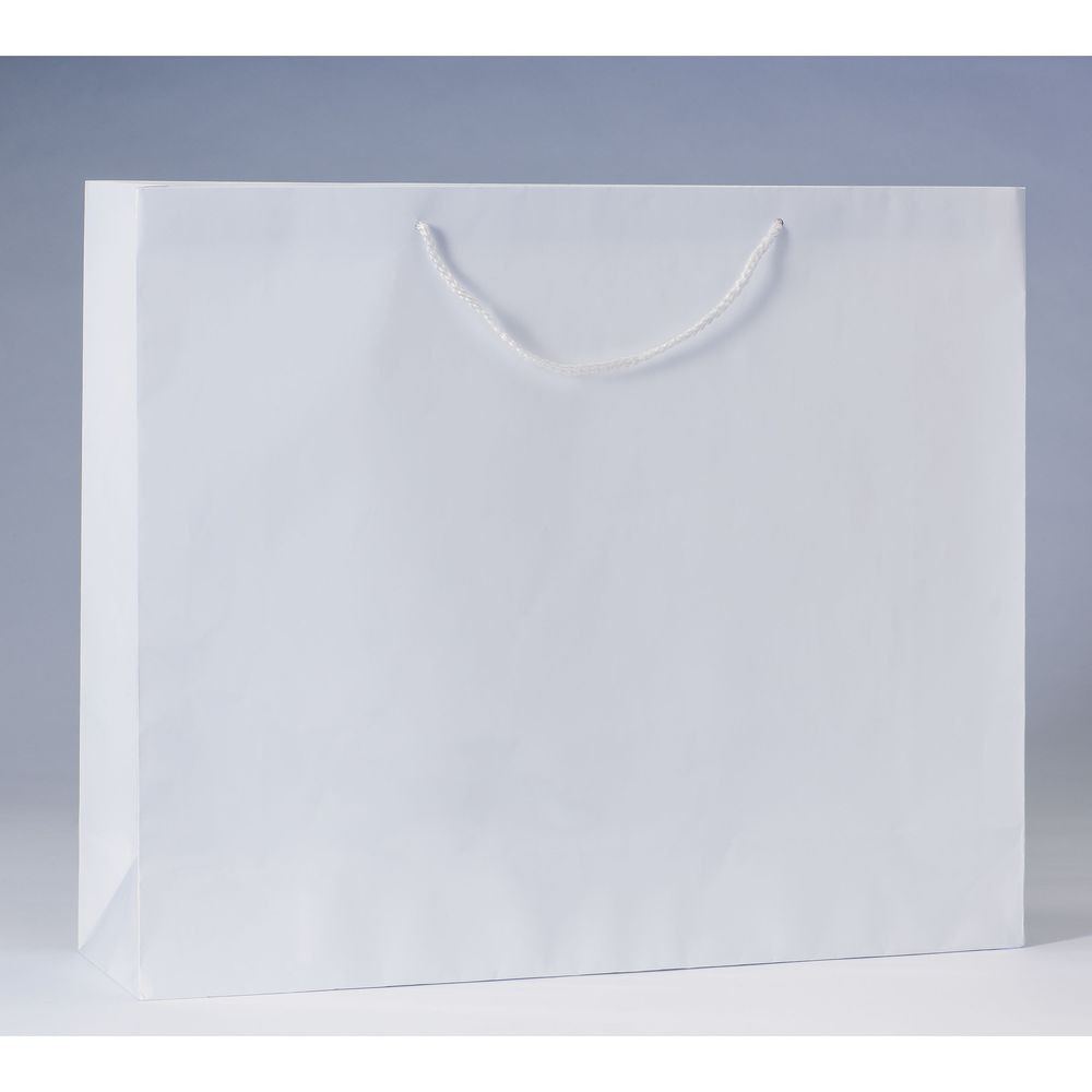 Sac Luxe pelliculé blanc L53 x P14 x H44cm par 12 (photo)
