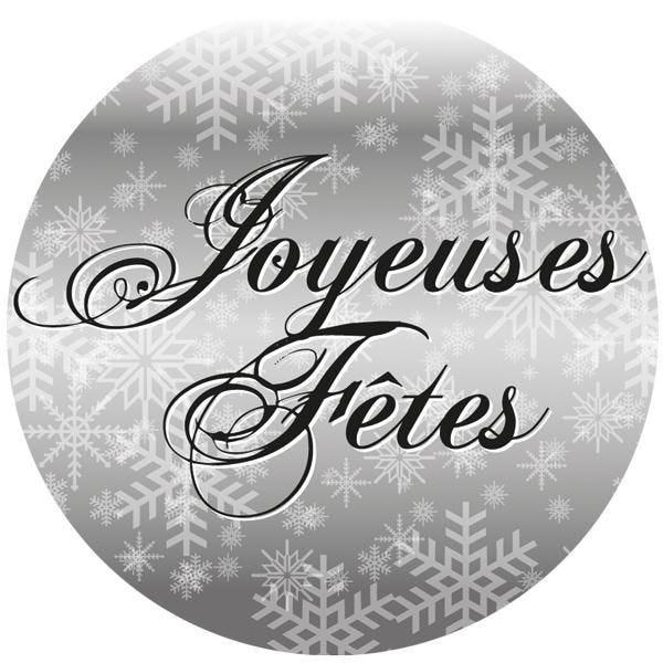 Etiquette adhésive Joyeuses Fêtes argent et noir diam. 35 mm par 500 (photo)
