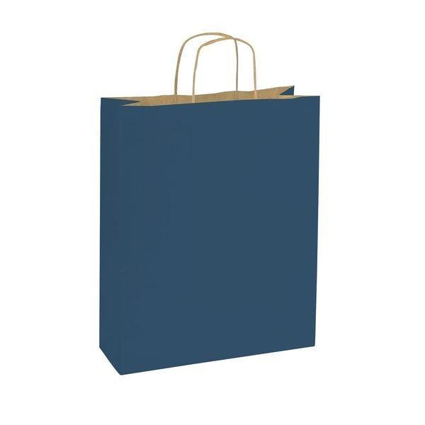Sac papier bleu poignées torsadées L.14 x P.8.5 x H.21 cm par 50 (photo)
