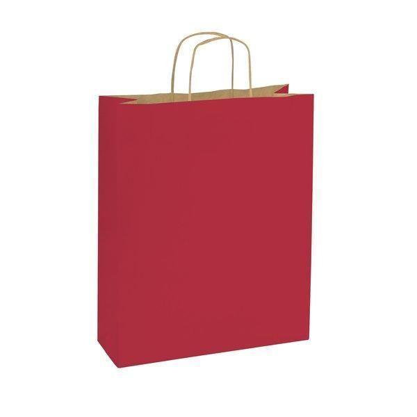 Sac papier rouge poignées torsadées 14x8,5x21cm - par 50