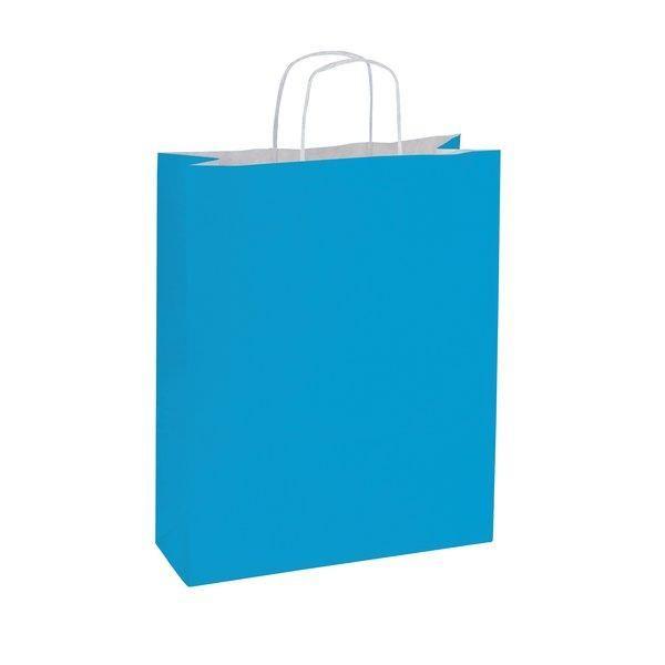 Sac papier turquoise poignées torsadées 14+8,5x21cm - par 50 (photo)