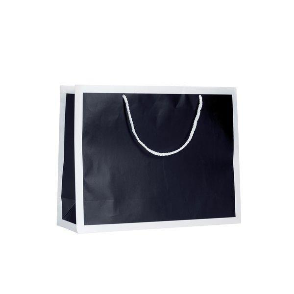 Sac Luxe pelliculé noir lisière blanc L36 x P12 x H28cm par 12 (photo)