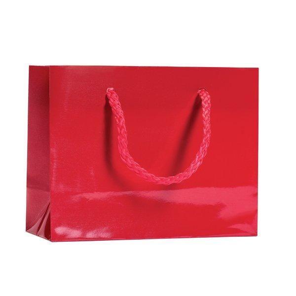 Sac Luxe pelliculé rouge L14 x P6 x H11cm par 12 (photo)