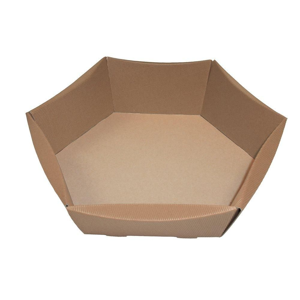 Corbeille hexagonale brun 32x26x12cm - par 10 (photo)