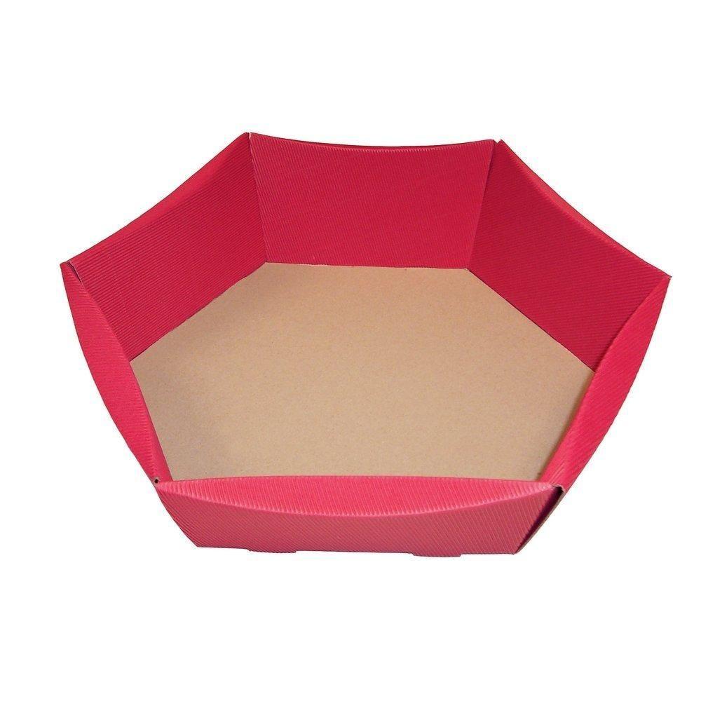 Corbeille hexagonale rouge 32x26x12cm - par 10