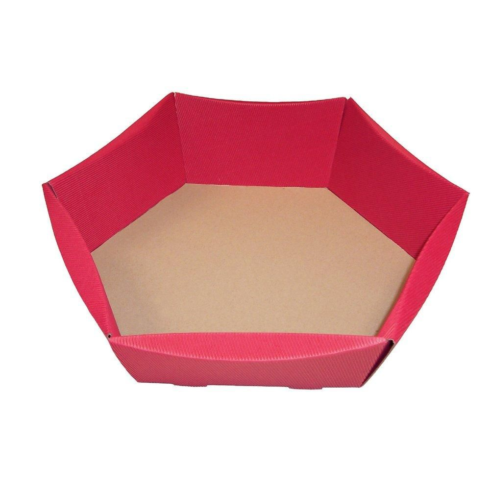 Corbeille hexagonale rouge L43 x P35,5 x H13cm - par 10 (photo)