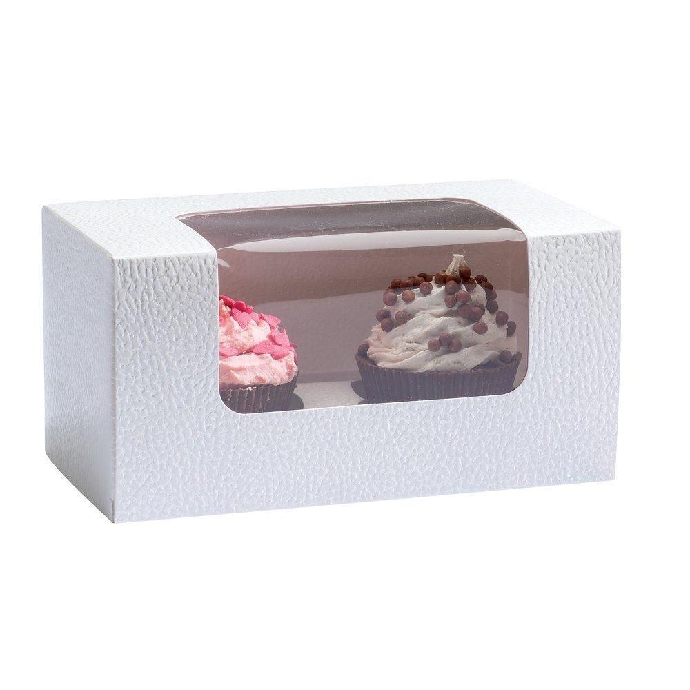 Boîte pour 2 cupcakes avec fenêtre 18x9x10cm - par 10 (photo)