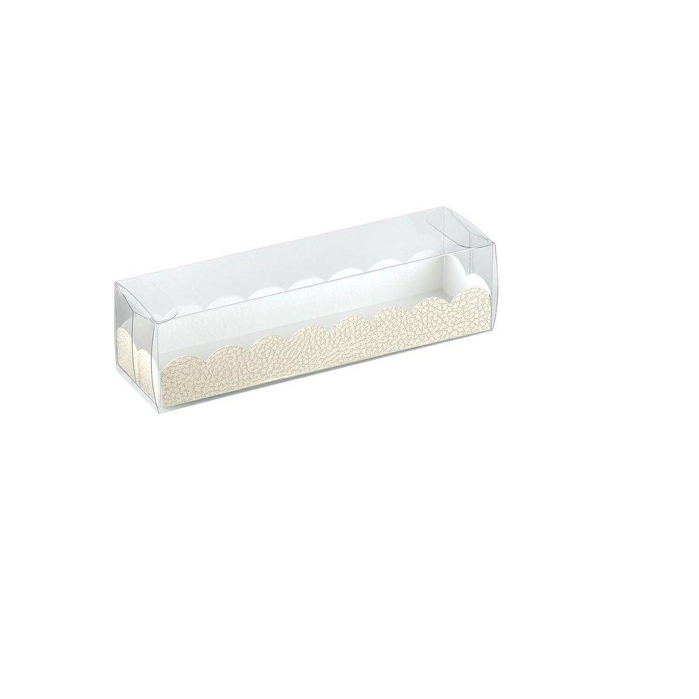 Boîte pour macarons avec couvercle transparent 16x5x5cm - par 10 (photo)