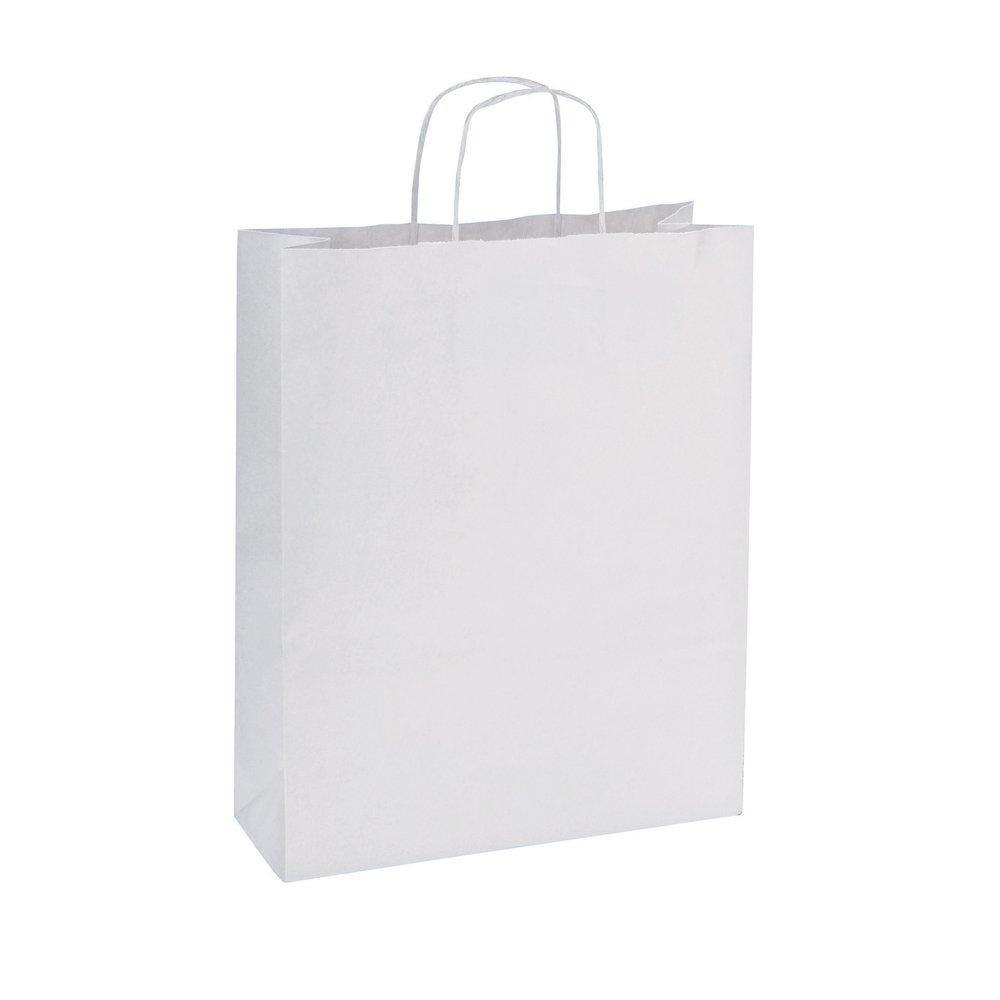 Sac kraft poignées torsadées blanc 14 x 8 x 21cm par 200 (photo)