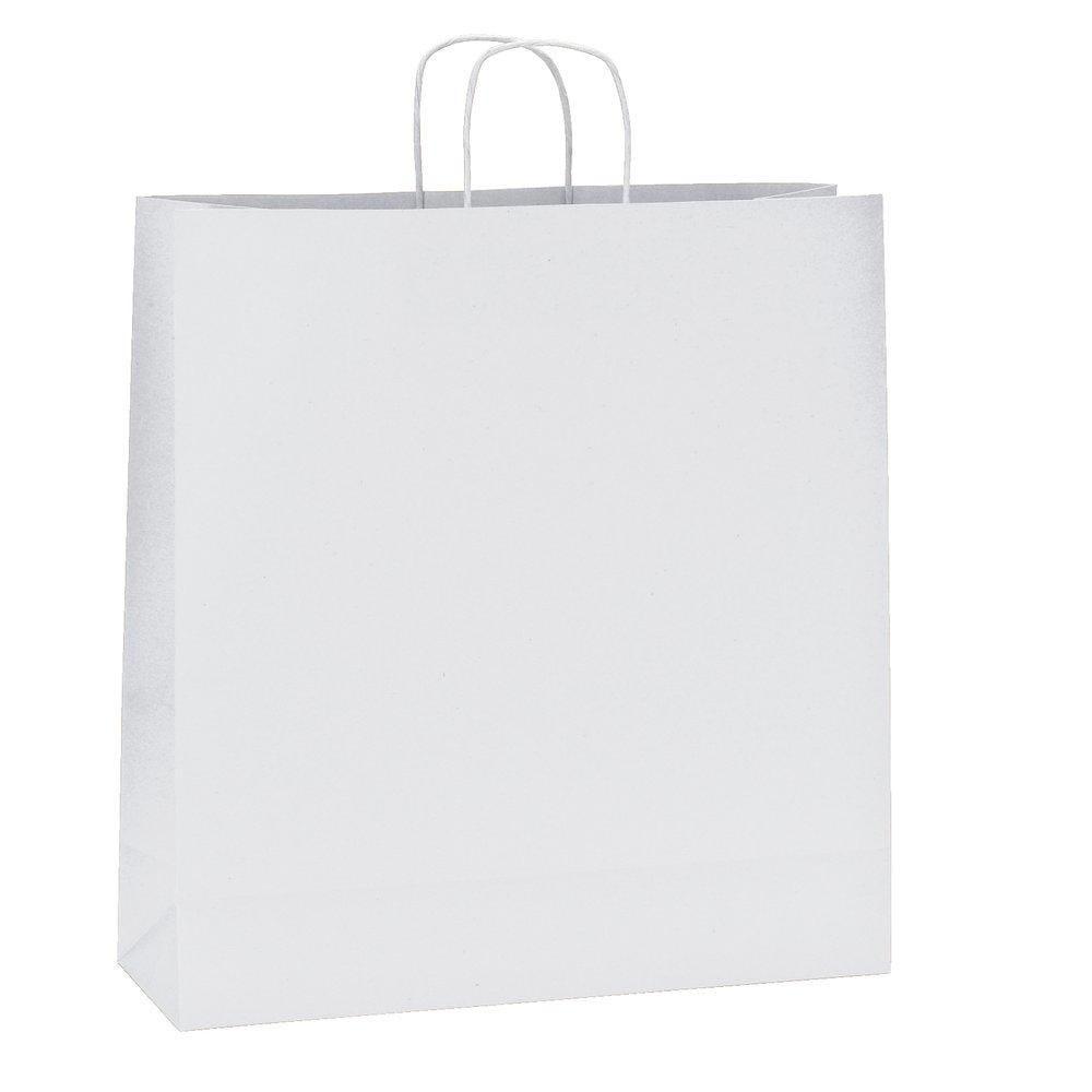 Sac kraft blanc poignées torsadées L.35 x P.14x H.36cm par 200 (photo)