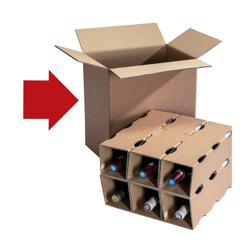 Caisse 6 bouteilles 336 x 224 x 360mm par 15 (photo)
