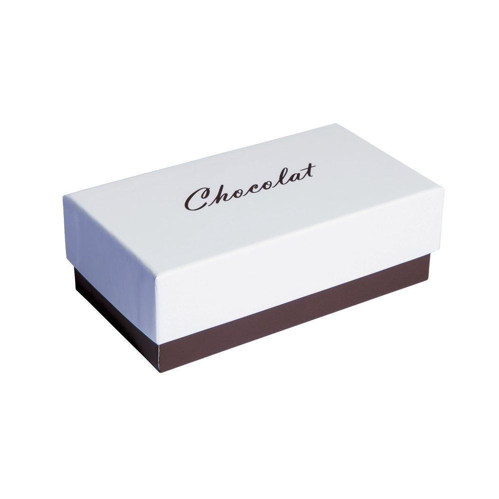 Boite chocolat à couvercle intérieur or blanc/chocolat en 13.5x7x4.6cm par 10 (photo)