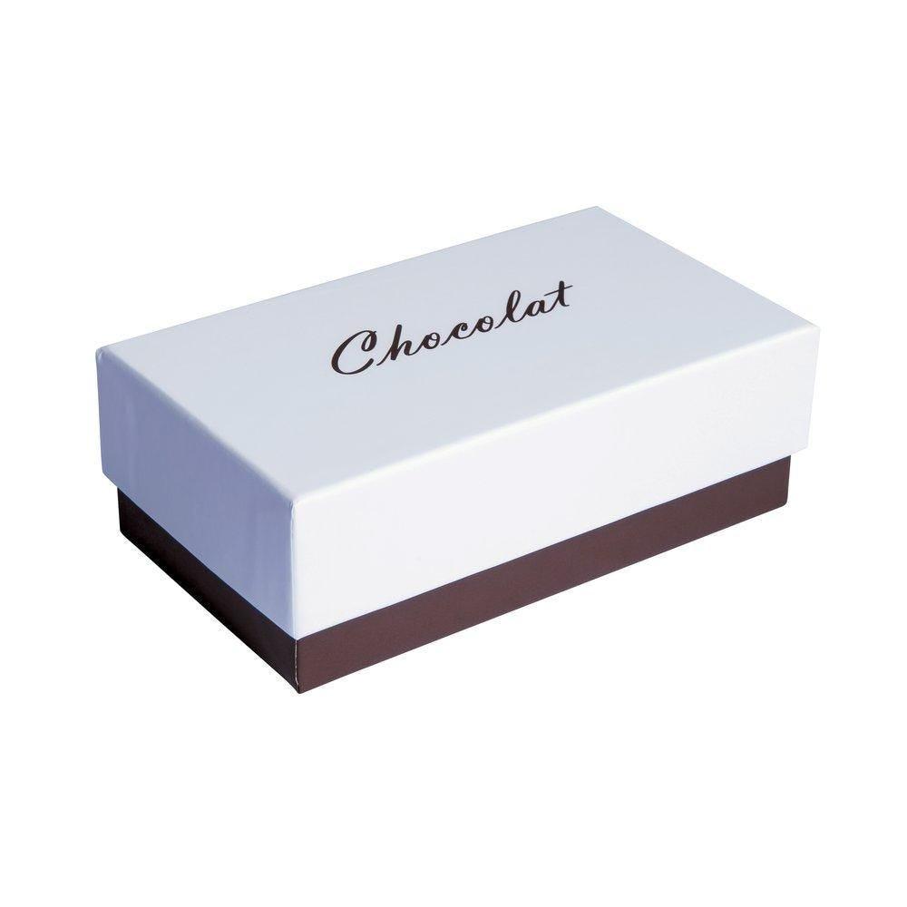 Boite chocolat à couvercle intérieur or blanc/chocolat en 14.5x8x5cm par 10 (photo)