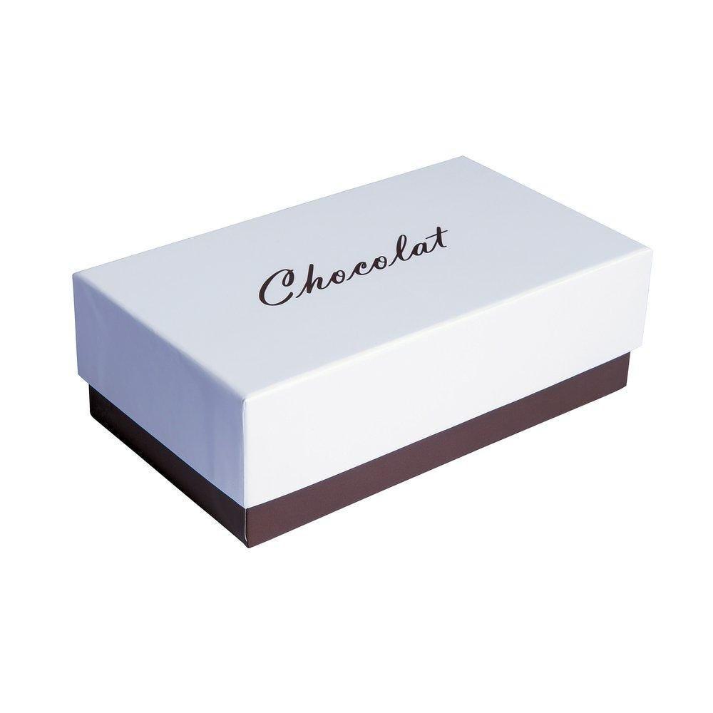 Boite chocolat à couvercle intérieur or blanc/chocolat en 16X9X5.2cm par 10 (photo)