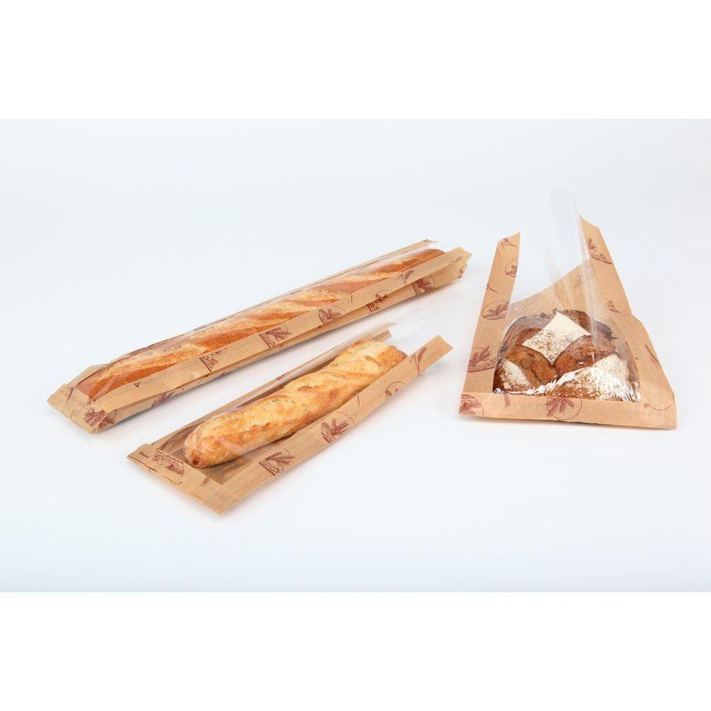 Sac baguette à fenêtre gris/rose 10x3.5x52cm - paquet de 1000 (photo)