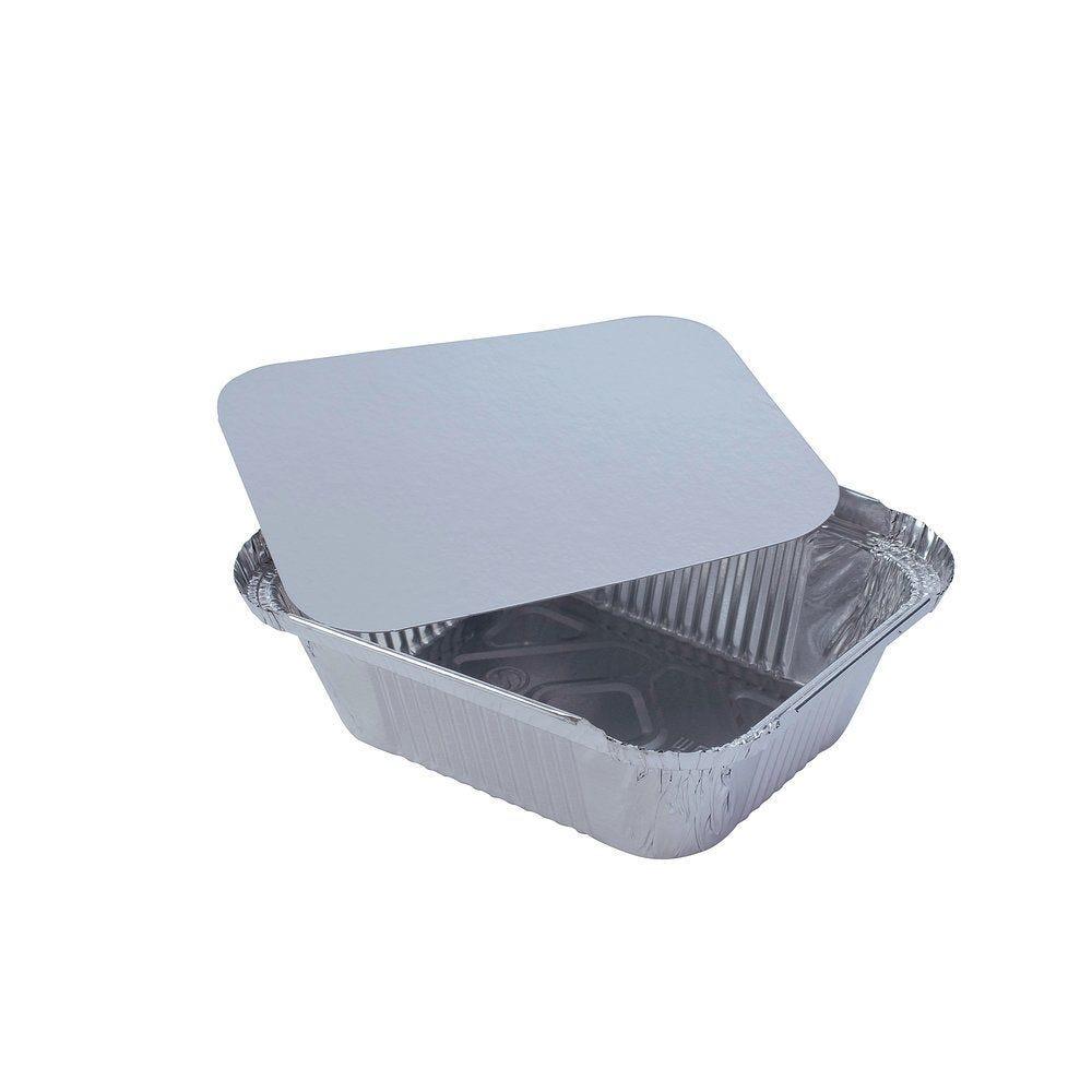 Barquette aluminium 20.4x11.3x5cm 670CC avec couvercle - paquet de 100 (photo)