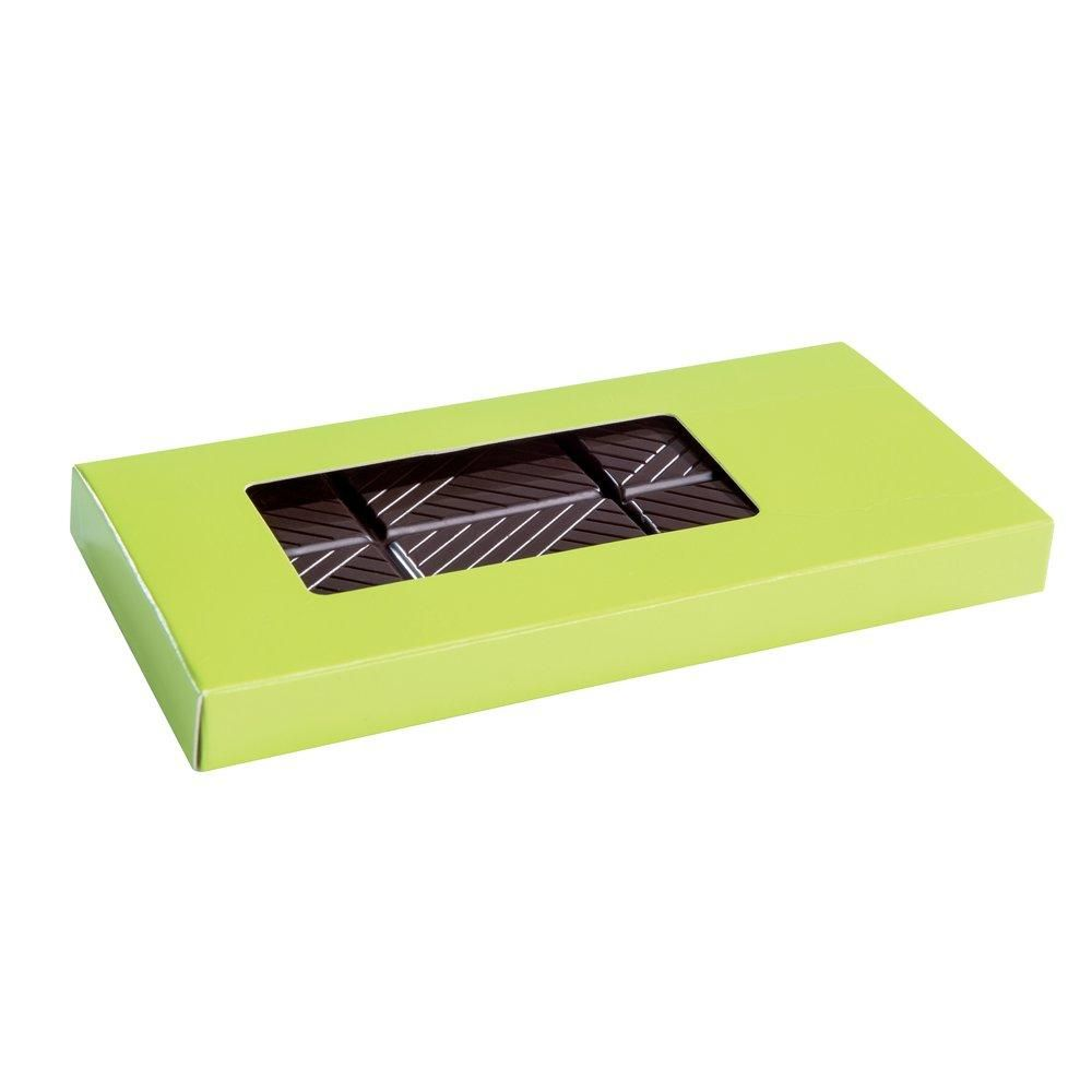 Etui tablette chocolat vert anis intérieur or 16x8x1.5cm - paquet de 50 (photo)