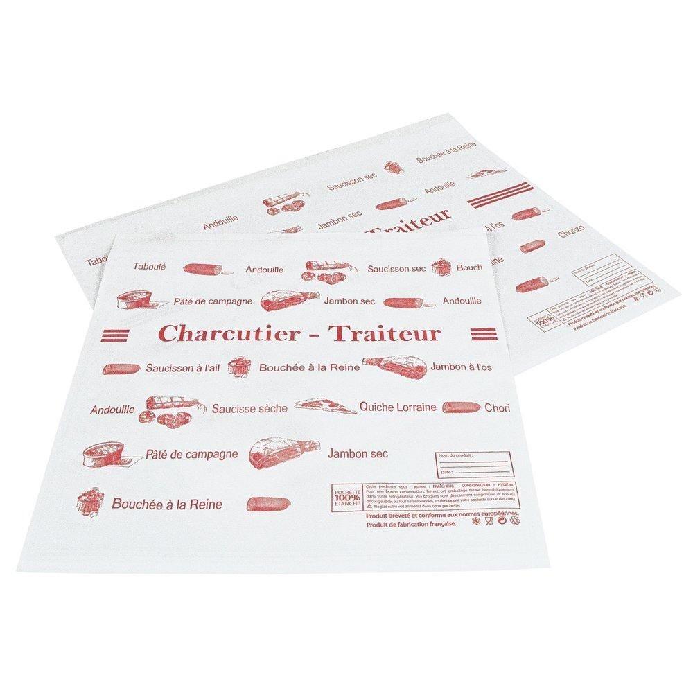 Pochettes adhésives charcuterie 16x25cm - paquet de 1000 (photo)
