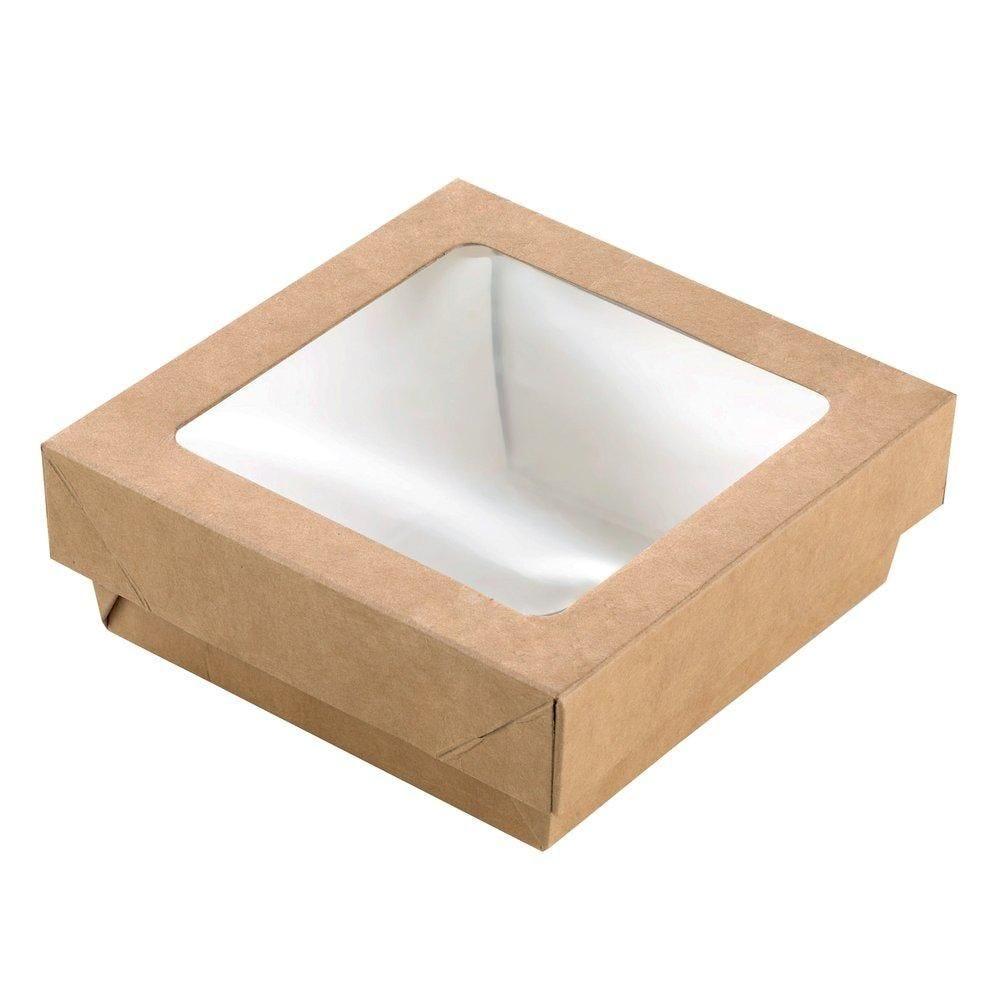 Boîte carton avec couvercle à fenêtre 350ml - 11.5x11.5x4 cm - paquet de 25 (photo)