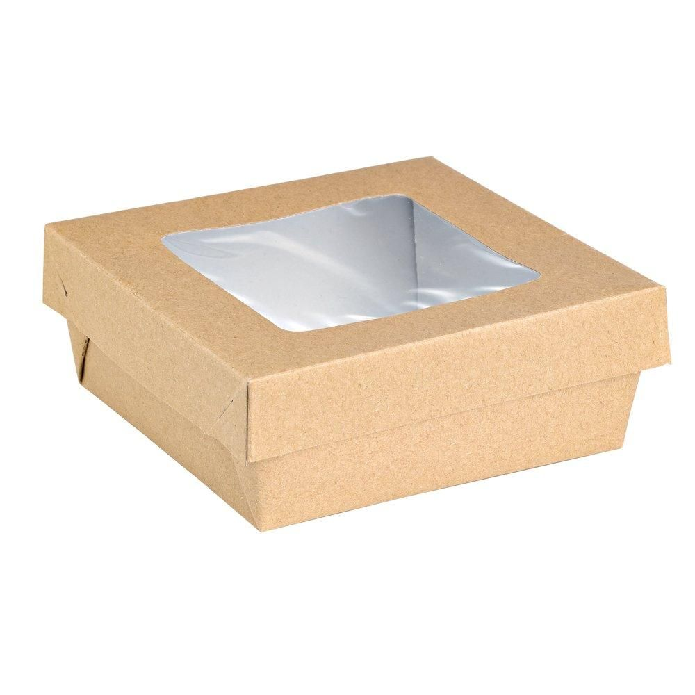 Boîte carton avec couvercle à fenêtre 500ml - 13.5x13.5x5cm - paquet de 25 (photo)