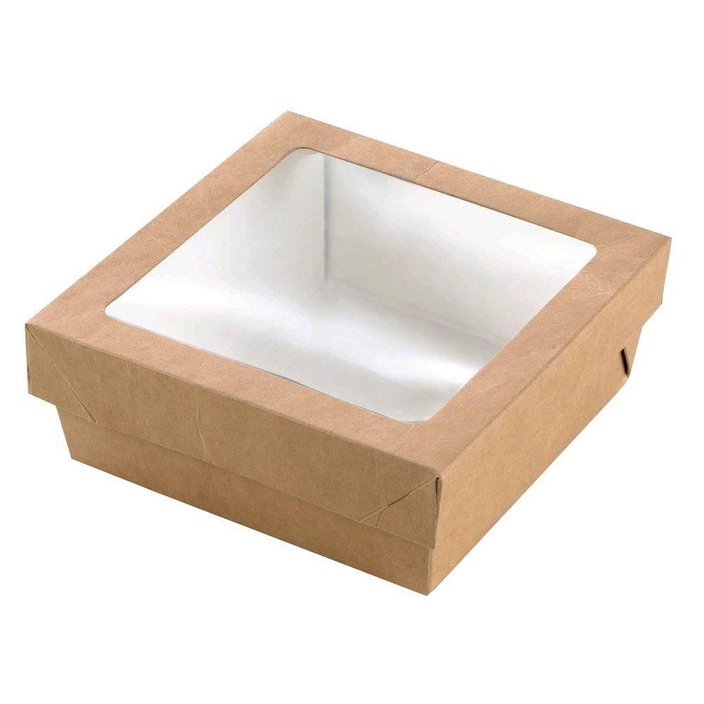 Boîte carton avec couvercle à fenêtre 700ml  14x14x5cm - paquet de 25 (photo)