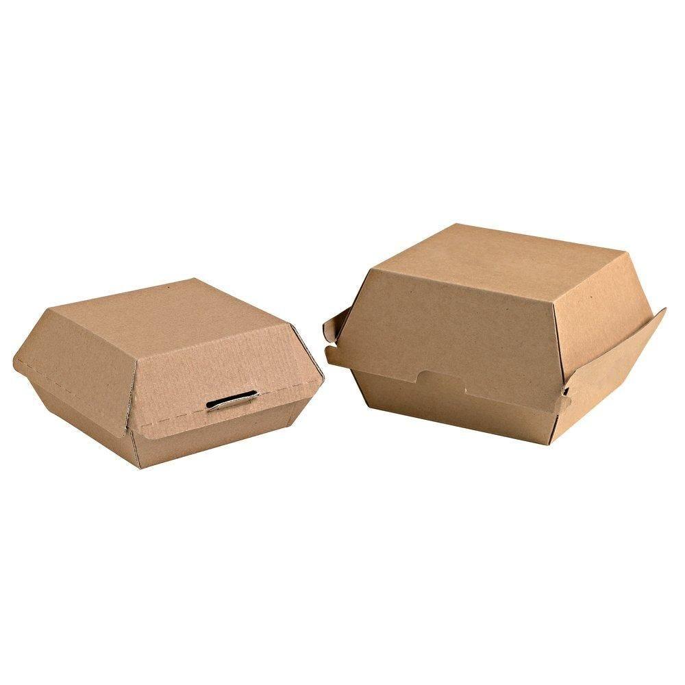 Boîte hamburger carton brun - paquet de 50 (photo)