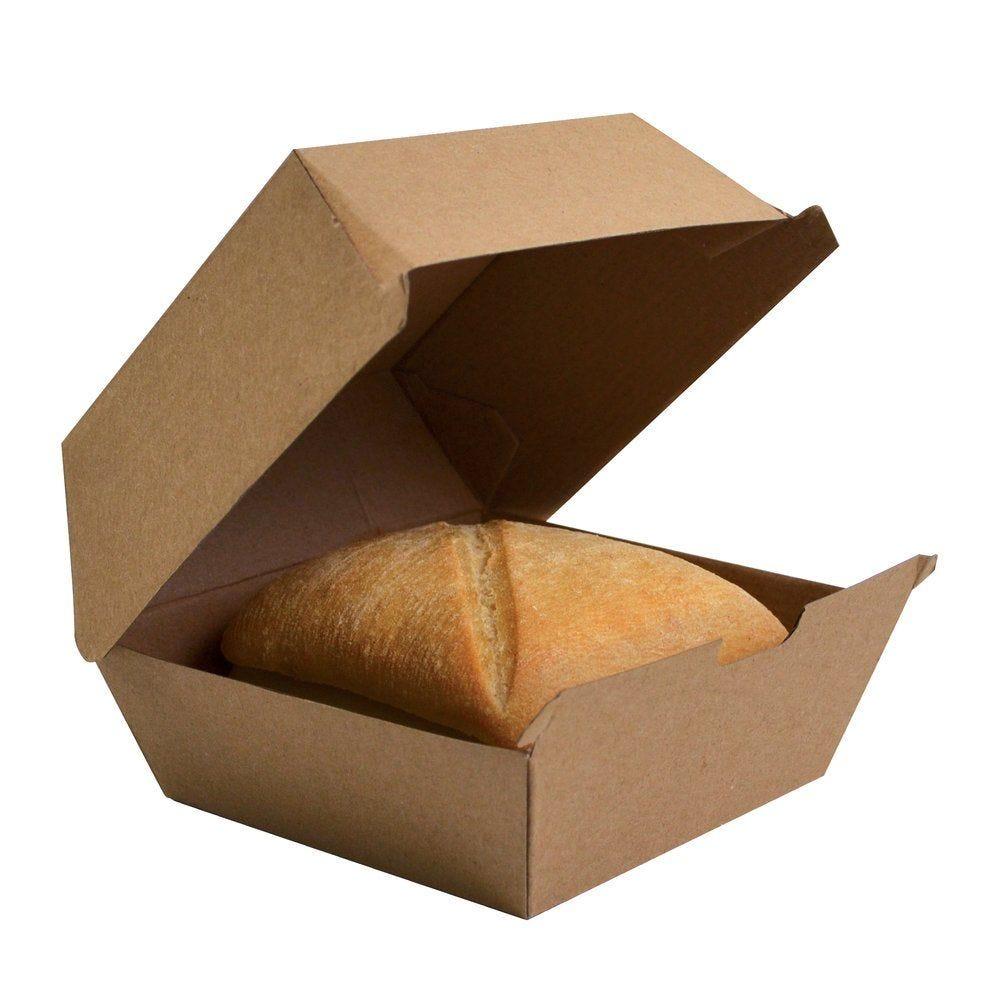 Boîte hamburger géant carton brun 14.5x13.5x8.2cm - paquet de 50 (photo)