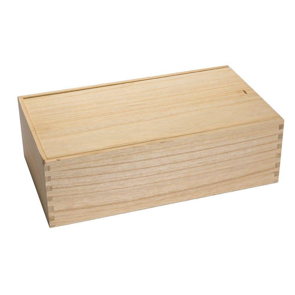 Boîte 2 bouteilles en bois neutre à coulisse 20x10.5x34.2cm (photo)