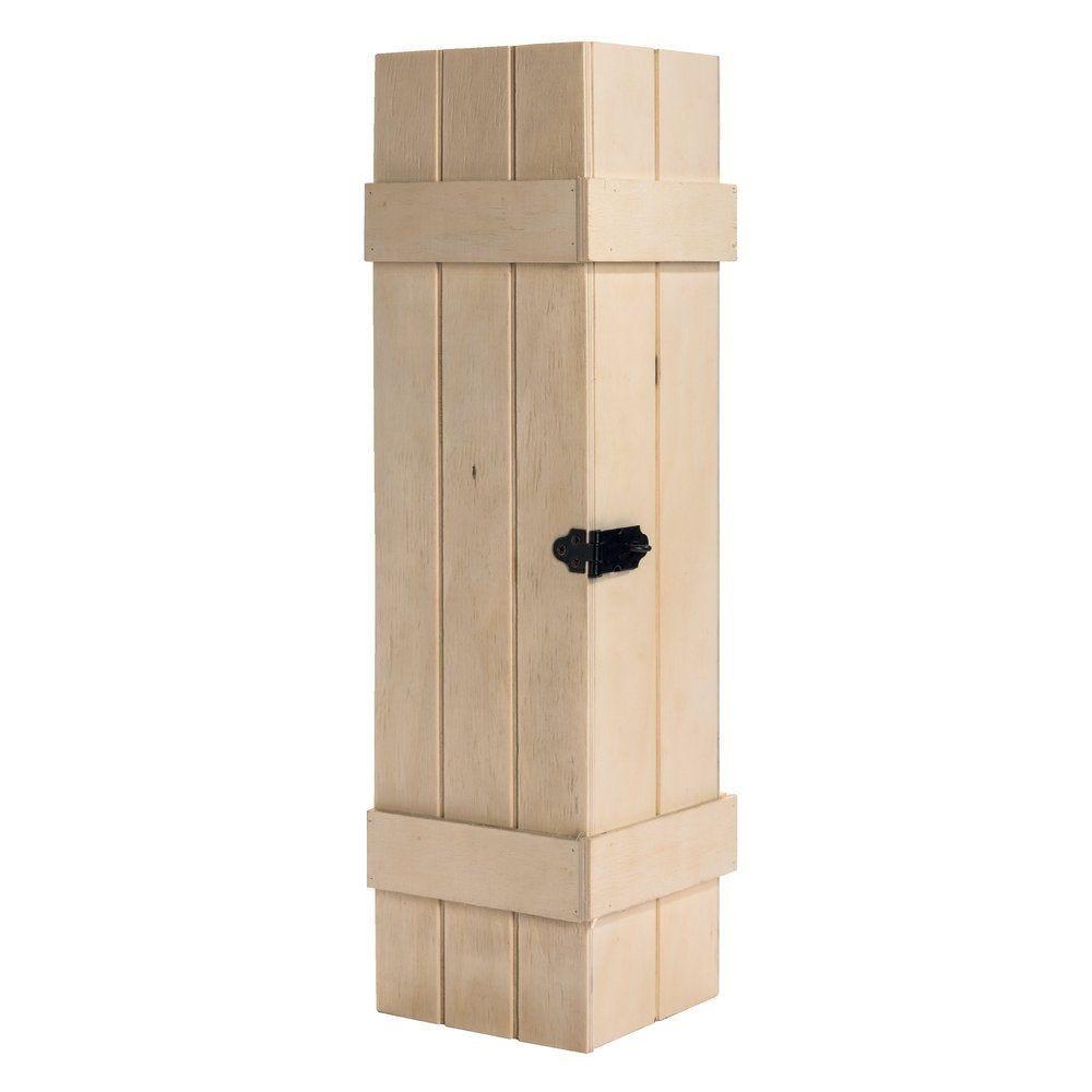 Boîte 1 bouteille en bois neutre avec fermeture en métal 10.8x10.5x37cm (photo)