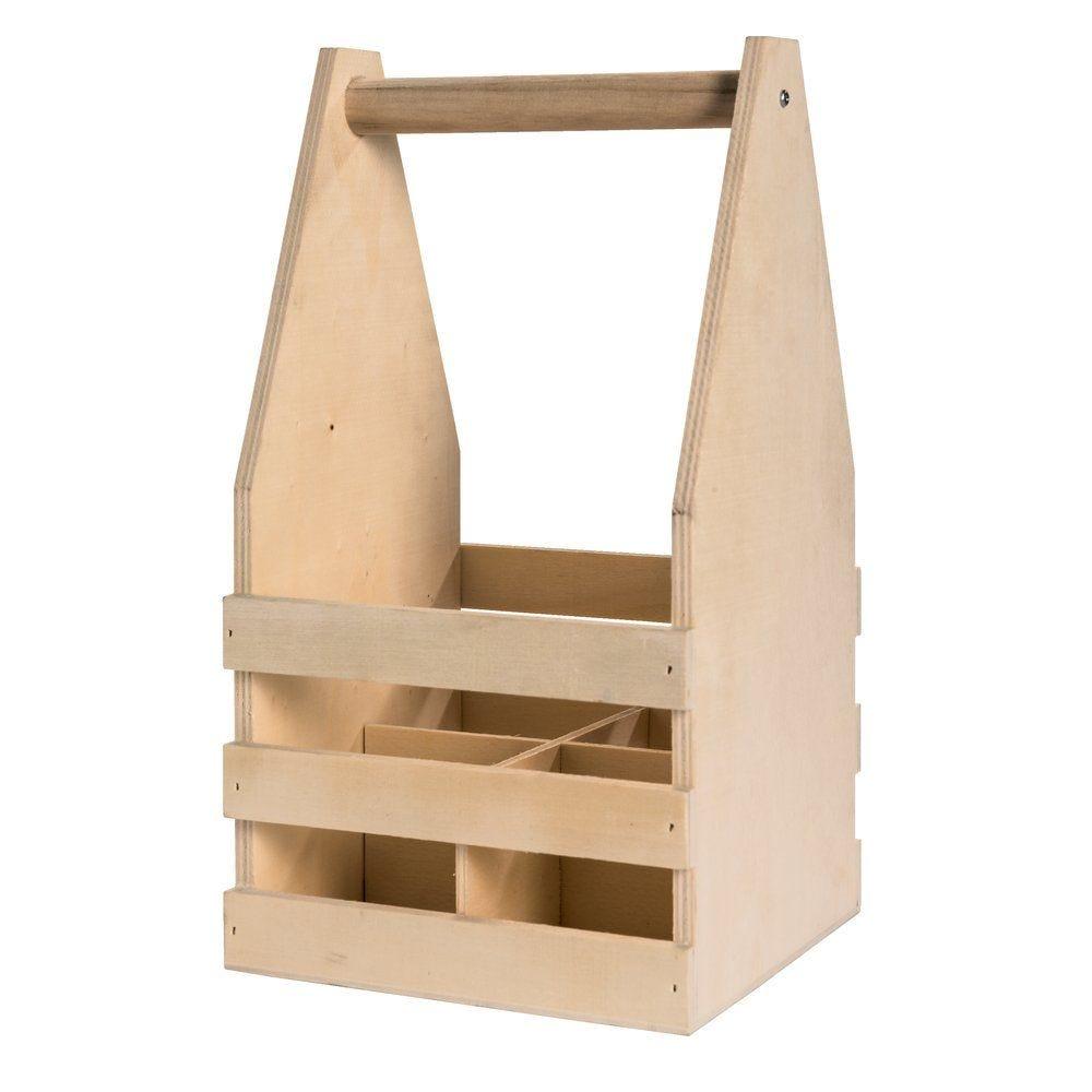 Caisse bois neutre pour 4 bouteilles petit format 14.8x14.8x27.5cm (photo)