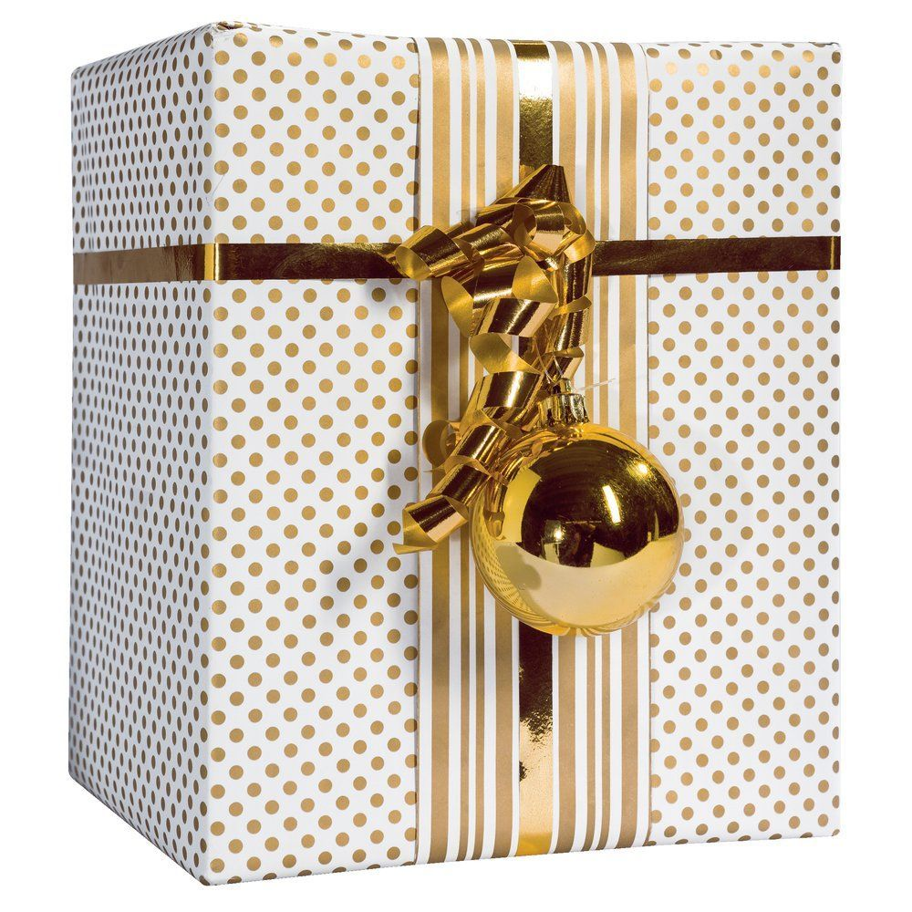 Papier cadeau réversible pois/rayures or et blanc 0.70x25m