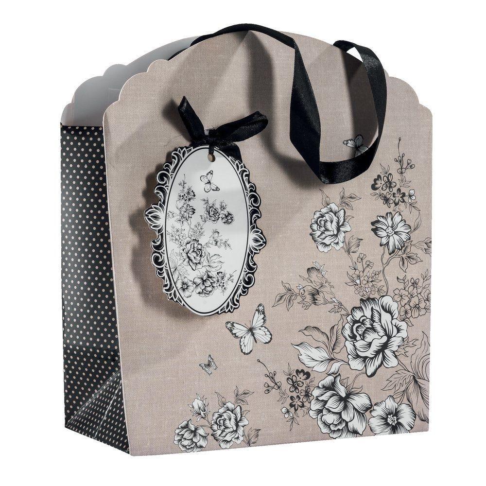 Sac Charme poignées satin avec fleurs noires et blanches 21x10x23cm par 10 (photo)