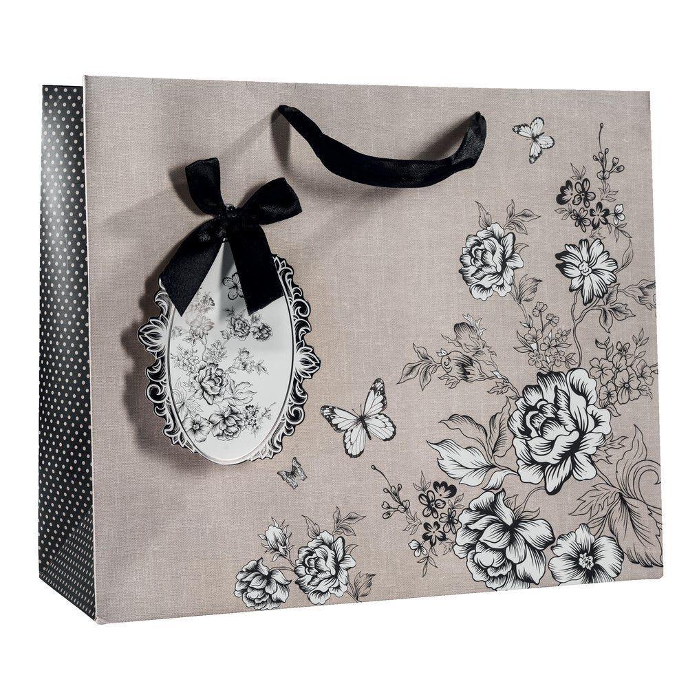 Sac Charme poignées satin avec fleurs noires et blanches 31x12x26cm par 10 (photo)
