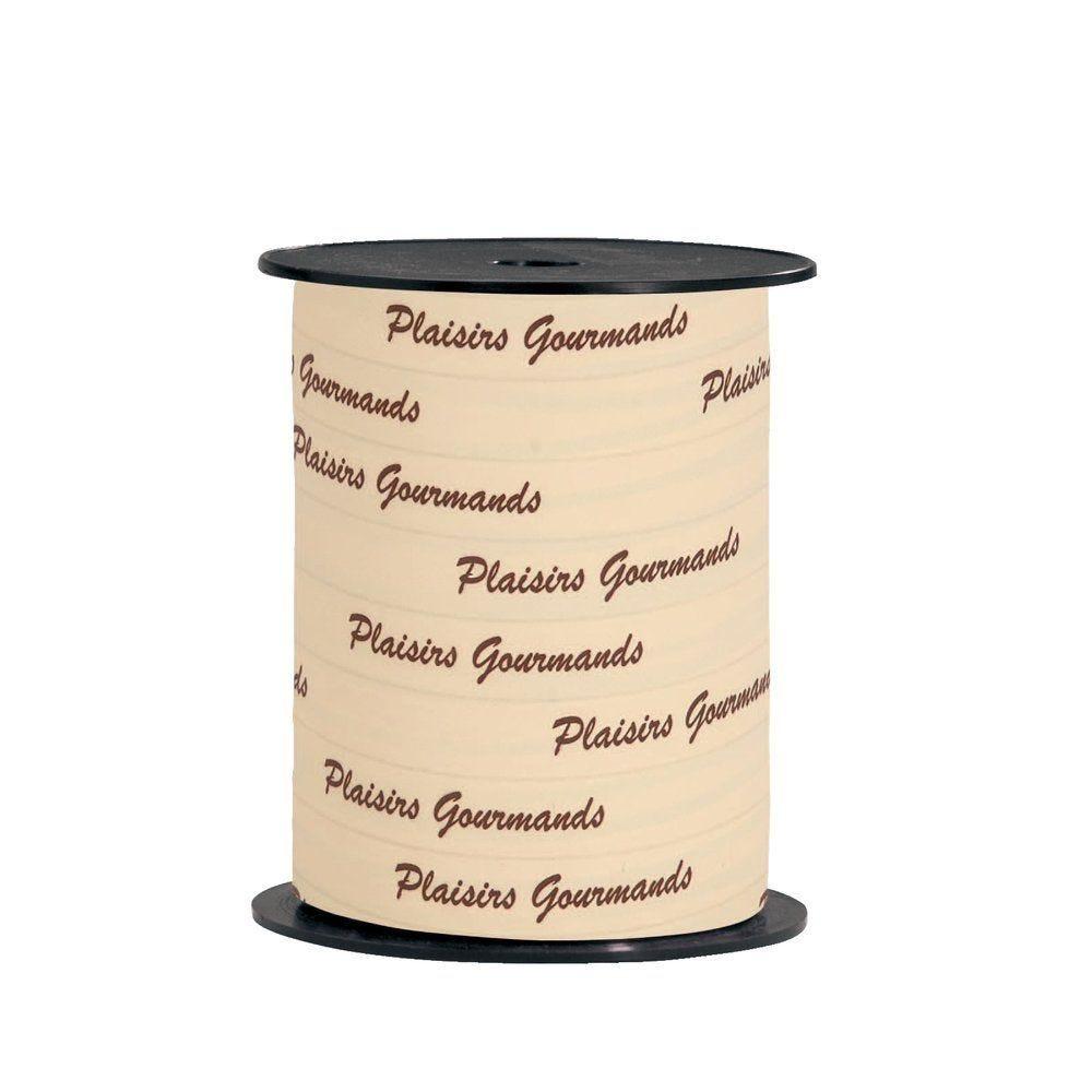 Bolduc 'Plaisirs Gourmands' écriture chocolat sur fond crème en 10mm x 250M (photo)