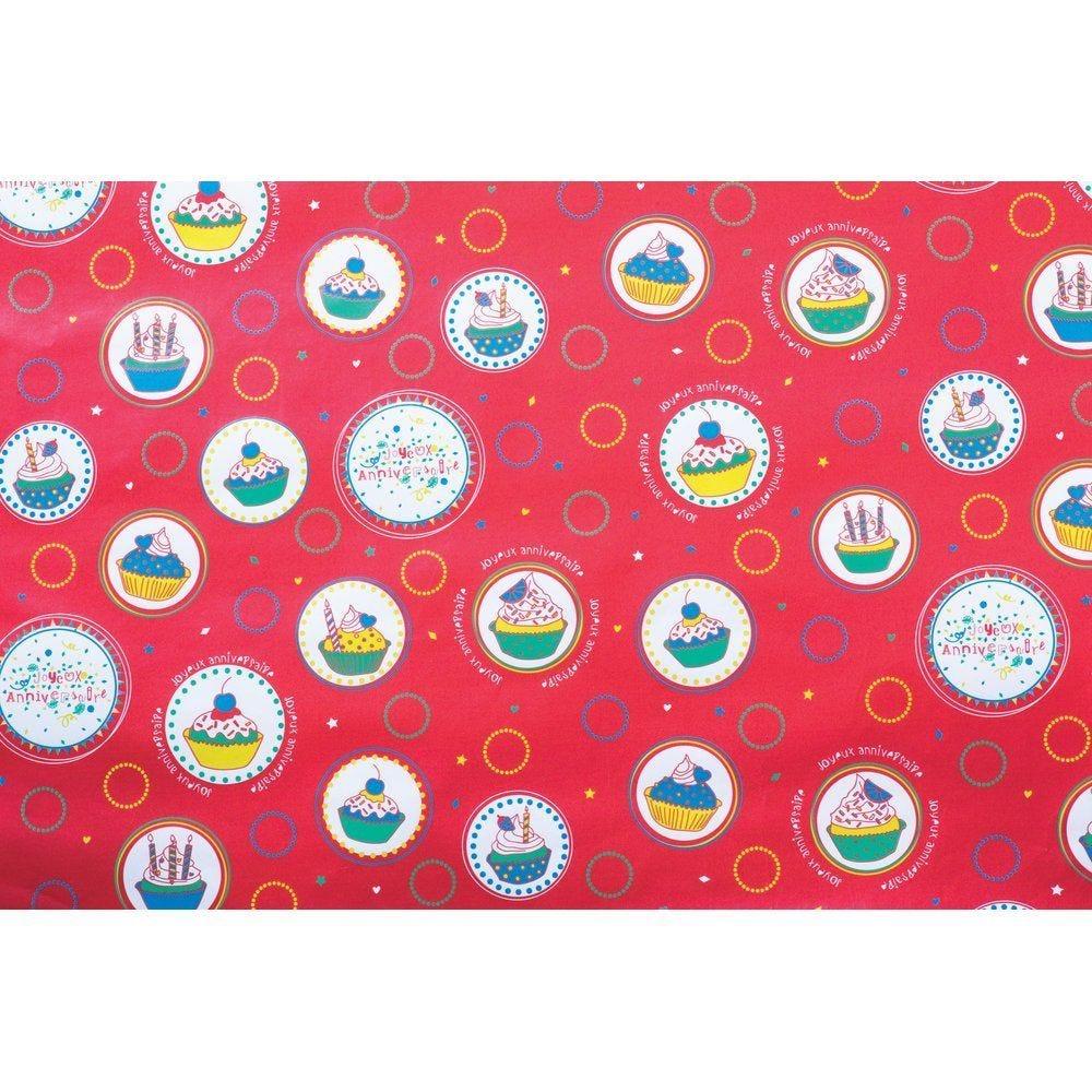 Papier cadeau 'Joyeux anniversaire' gourmand 0,70 x 100m papier couché 70g (photo)