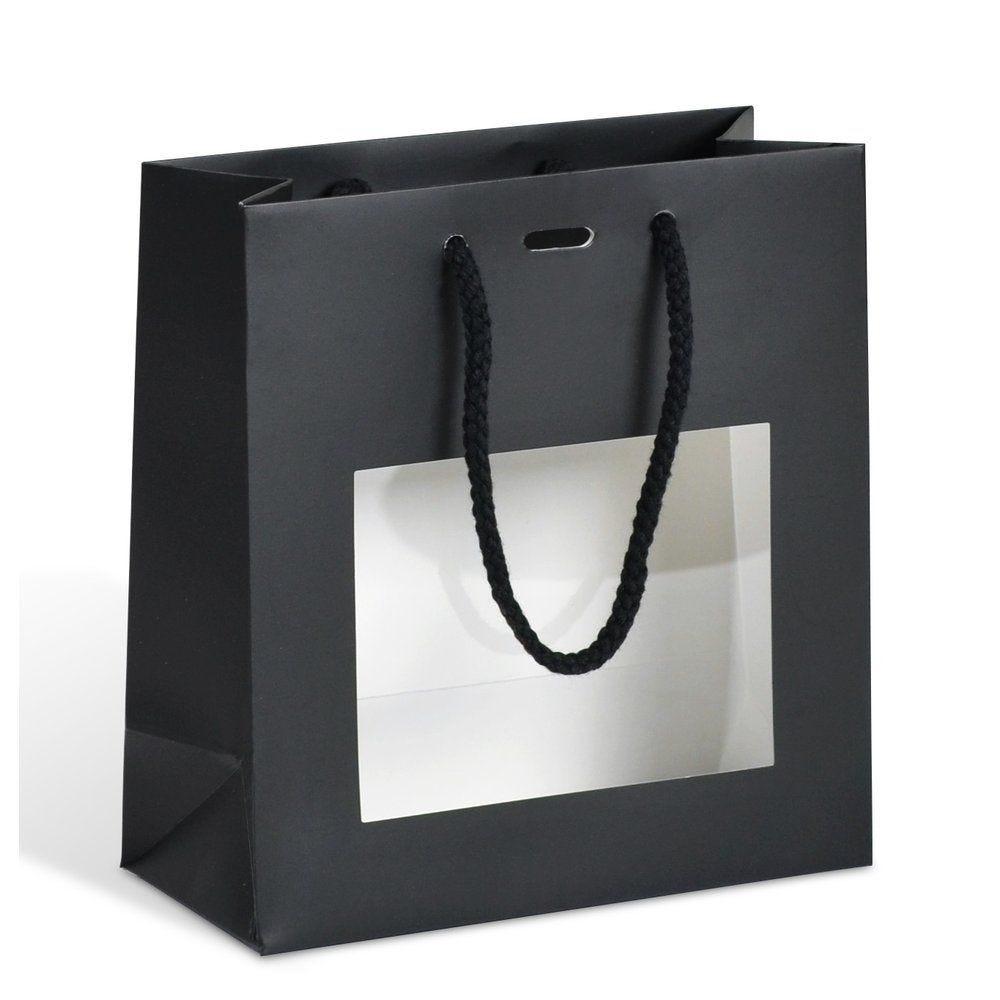 Sac luxe noir à fenêtre 18+8x19cm - paquet de 10 (photo)
