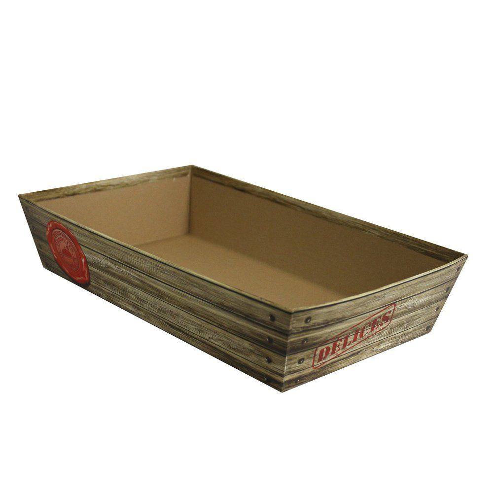 Panier carton rectangle banetou 'Terroir' en 25x10x5cm (photo)