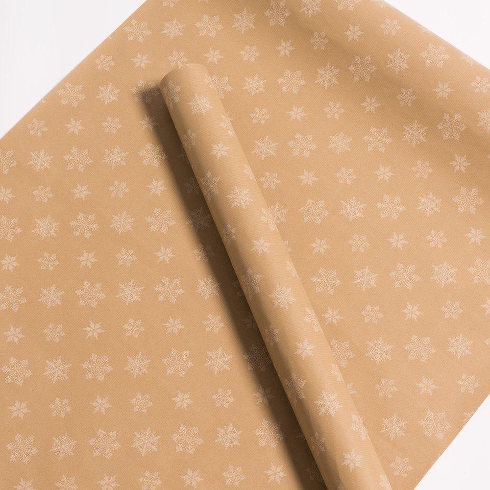 Papier cadeau kraft brun 'Flocons' blancs en 0.70 x 100M (photo)