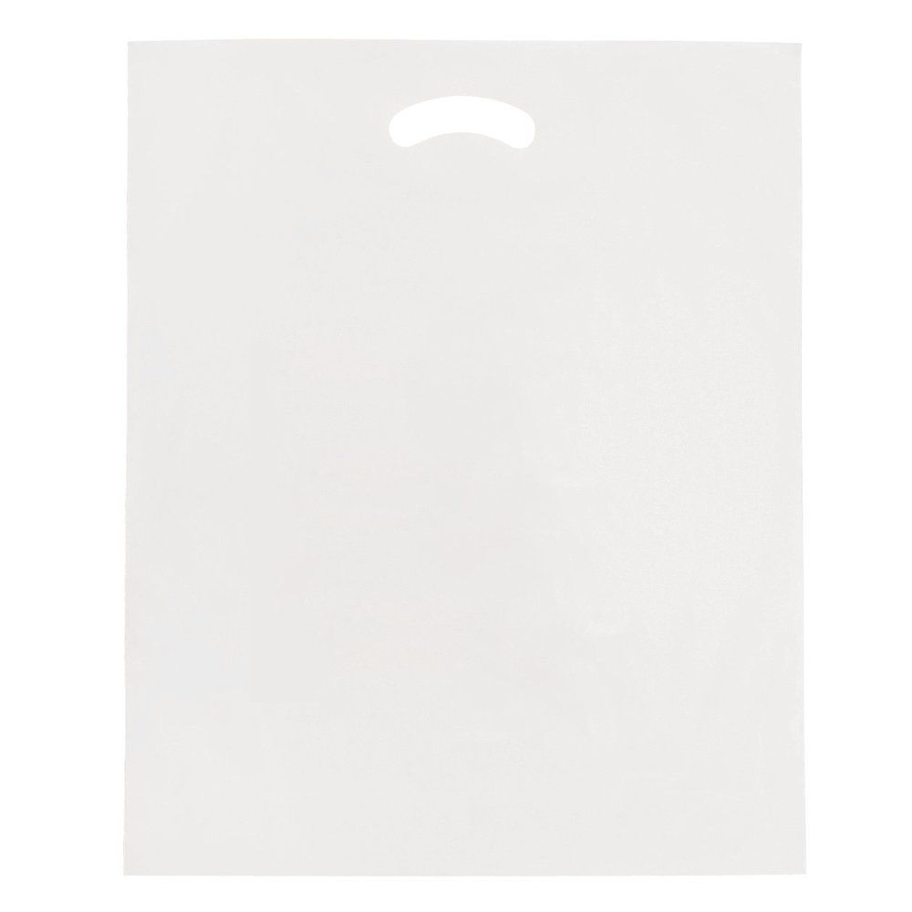 Sac plastique à poignées découpées blanc 25x38cm - paquet de 100