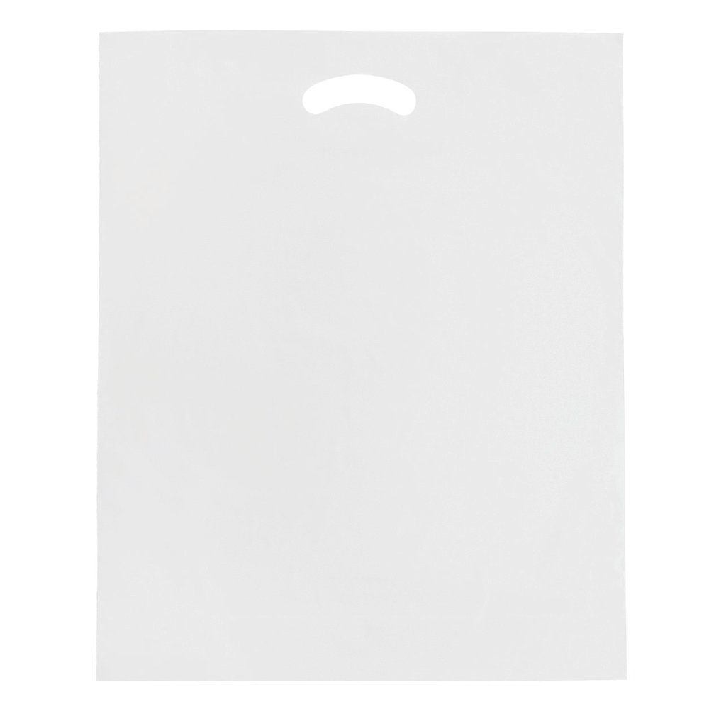 Sac plastique à poignées découpées blanc 45x50+4cm - paquet de 100