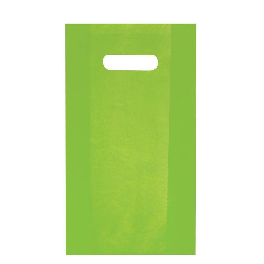 Sac plastique à poignées découpées vert anis 25x38+4cm - paquet de 100