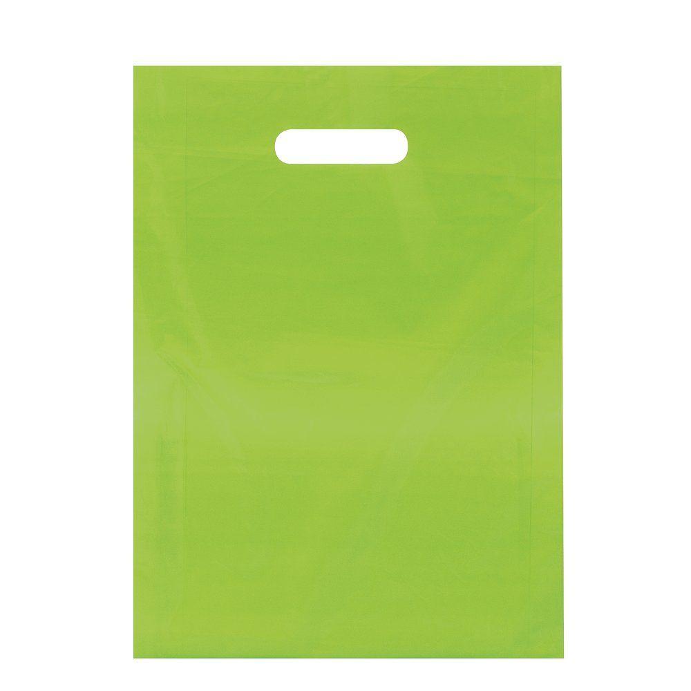 Sac plastique à poignées découpées vert anis 35x45+4cm - par 100