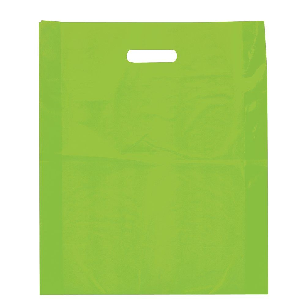 Sac plastique à poignées découpées vert anis 45x50+4cm - paquet de 100