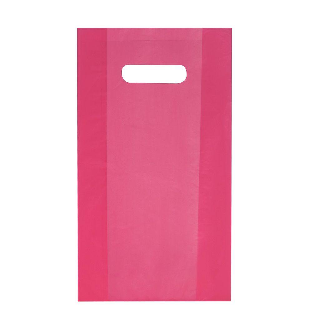 Sac plastique à poignées découpées fuchsia 25x38cm - paquet de 100
